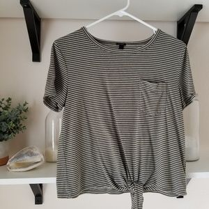 Olive green striped tee